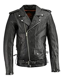 Milwaukee Leather LKM1711TALL-BLACK-XL-T Men's Tall Side Lace Police Style Jacket with Gun Pockets Black, X-Large