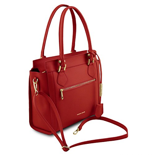 Rouge Frontal Cuir Tuscany en à Leather avec Lara Sac Rouge Main Zip xUxwaPqp