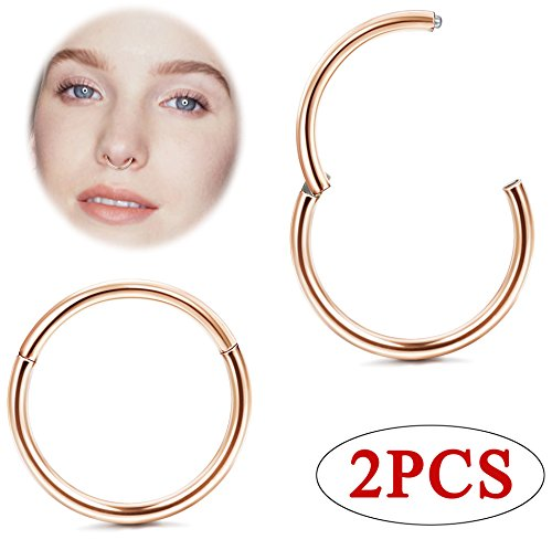 Jstyle 20G 1Pair 8MM Hinged Nose Ring Hoop Seamless Clicker Piercing Surgical Steel Sleeper Earrings Cartilage Helix Tragus Septum Lip Daith Conch Ring Body Piercing New&Improved Rose Gold