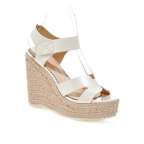 AgooLar Women's Open Toe High Heels Nappa Solid Hook And Loop Sandals, White, (Yellow Nappa Footwear)