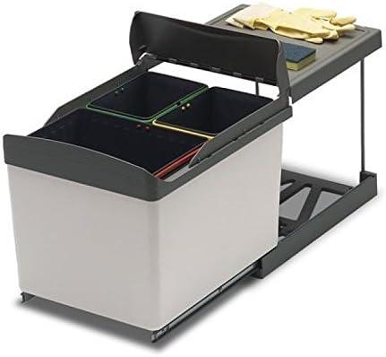 Cubo De Basura Extraíble Para Debajo Del Fregadero De Cocina 3 Cubos De Reciclaje Automático Deslizante 517 Amazon Es Hogar