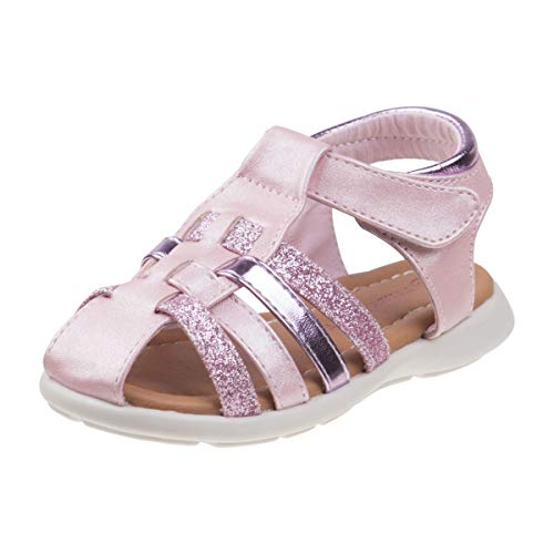 Laura Ashley Girls Glitter Fisherman Espadrille Sandal (Toddler, Little Kid) (11 M US Little Kid, Pink Glitter)'
