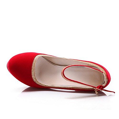 Tacón nbsp;de Redonda Hebilla Rojo Zapatos Esmerilado Mujer nbsp;Tacón Alto Puntera Gamuza Allhqfashion wZaHq74