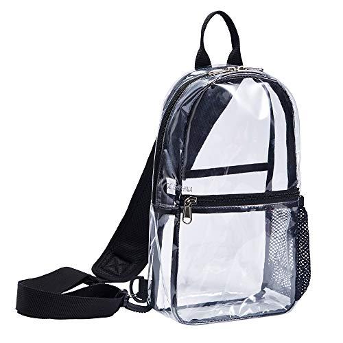 Clear Bag Backpack See through - Sling Stadium Approved Pvc Vinyl Transparent Shoulder Crossbody for Women & Men (Small)