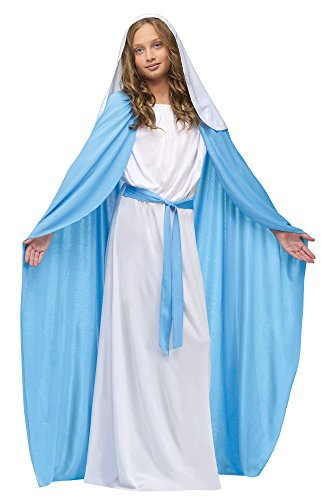 Girls Virgin Mary Costumes (Fun World Costumes Girl's Child Mary Costume, Blue/White, Small)