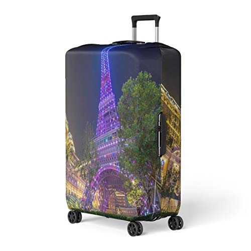 Pinbeam Luggage Cover Macau China May Perspective View of Pink Eiffel Travel Suitcase Cover Protector Baggage Case Fits 18-22 inches