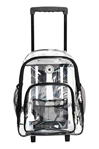 - Rolling Clear Backpack Heavy Duty Bookbag Quality See Through Workbag Travel Daypack Transparent School Book Bags with Wheels Black