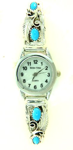 By Navajo Artist Robert Brown Navajo Women's Sterling-Silver Turquoise - Watch Silver Jewelry Indian