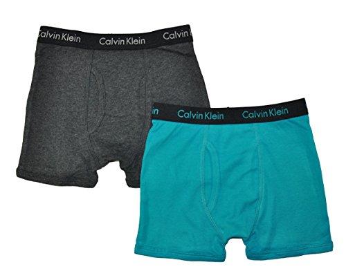 Calvin Klein Little/Big Boys' Assorted Boxer Briefs (Pack Of 2) (Charcoal/Black/Teal, - Briefs Underwear Boys 2pk Boxer