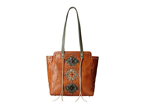 American West Women's Navajo Soul Zip Top Tote Tan One Size