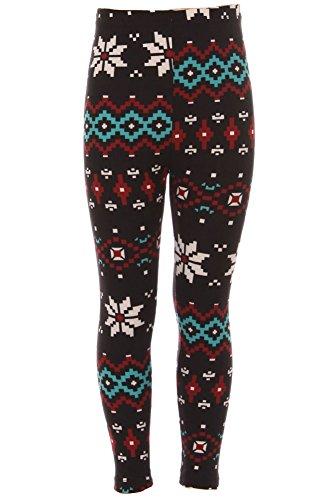 Expert Design Girl's Snowflake Diamond Pattern Printed Leggings - - Diamond 26in Pattern
