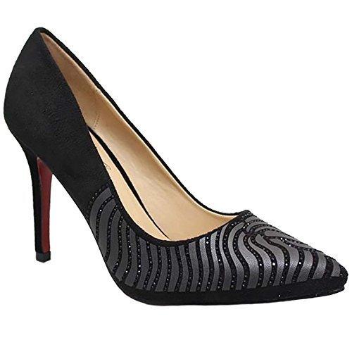 Saphir Boutique flh847 Clarissa spitz zulaufend Smart ABEND STRASS Kunstwildleder Stilettos Schwarz