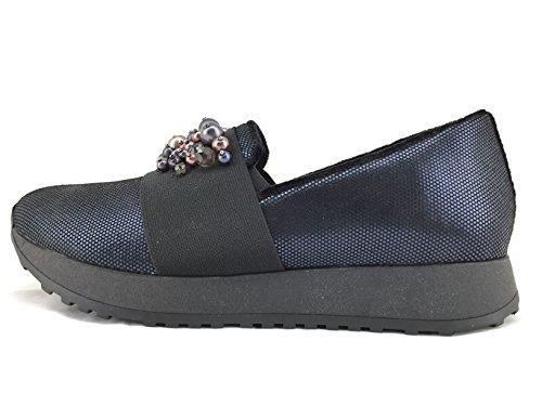 Apepazza MTC 14 scarpa donna senza stringhe in pelle lavorata blu fascia con pietre