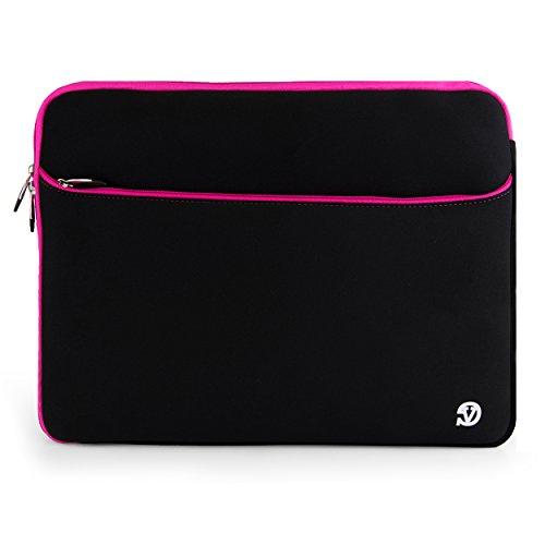 Travel Laptop Bag Carrying Case Tablet Sleeve Pouch for Acer Chromebook 15 / Aspire / Asus Aspire / ROG / FX51 / N55 / X / K501 / ZenBook / ZenBook Pro / X555 / K553 / N551 Black with Pink Trim