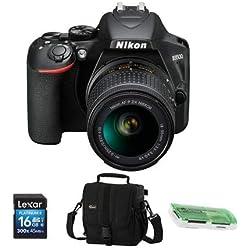 Nikon D3500 24MP DSLR Camera with AF-P DX NIKKOR 18-55mm f/3.5-5.6G VR Lens, Black - Bundle with Camera Case, 16GB SDHC Card, Card Reader