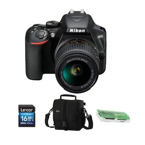 Nikon D3500 24MP DSLR Camera with AF-P DX NIKKOR 18-55mm f/3.5-5.6G VR Lens, Black – Bundle with Camera Case, 16GB SDHC Card, Card Reader