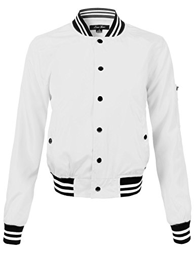 Waist Length Relaxed Fitted Style Zipper Closure Bomber Jacket, 108-White, Medium