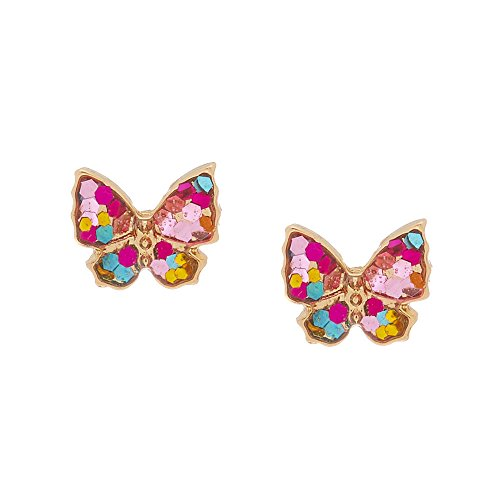 Claire's Girl's 18Kt Gold Plated Stained Glass Butterfly Earrings