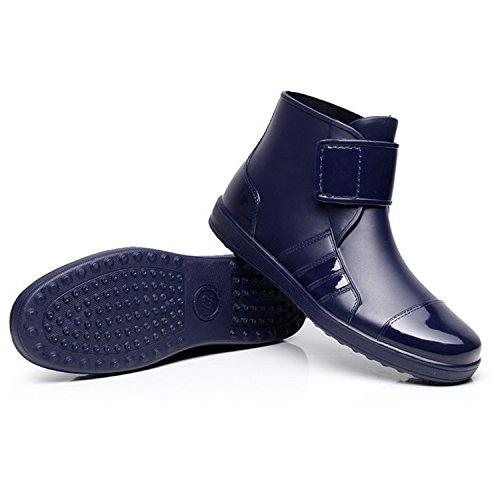Damen Herren Gummistiefel Regenstiefel Kurzstiefel Kurzschaft Regen Boots Blau