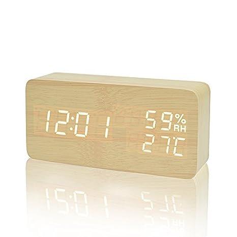 FiBiSonic Reloj Despertador Electrónico con 3 Alarmas Programables y LED Brillo de la Pantalla Madera (