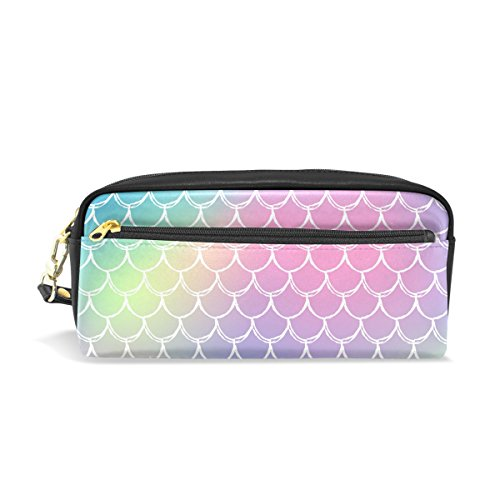 ShineSnow Mermaid Scale Rainbow Student Pen Pencil Case,Fish Tail Pink Office Zipper Coin Storage Organizer Purse Pouch Women Cosmetic Makeup Bag