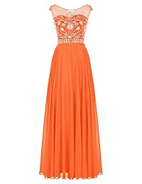 Tideclothes Long Cap Sleeves Prom Tulle Beads Evening Dress