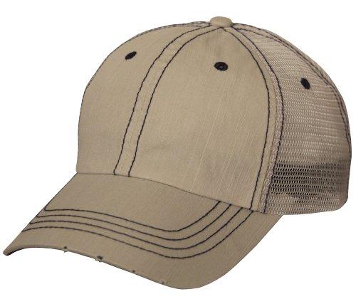 Lightweight Vintage Style Washed Mesh Trucker Baseball Cap Hat (Khaki)