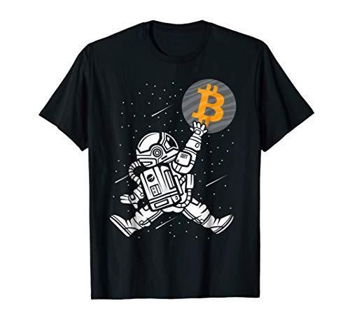 Mens Bitcoin To The Moon Shirt Astronaut Bitcoin HODL BTC Crypto Large Black