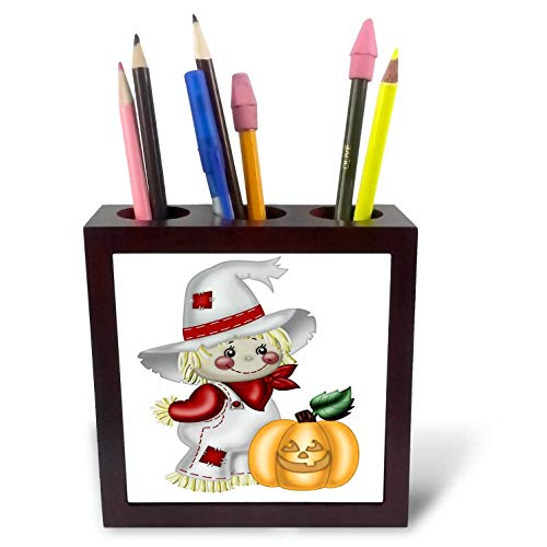 - 3dRose Anne Marie Baugh - Illustrations - Cute Smiling Scarecrow with A Pumpkin Illustration - 5 inch Tile Pen Holder (ph_317966_1)