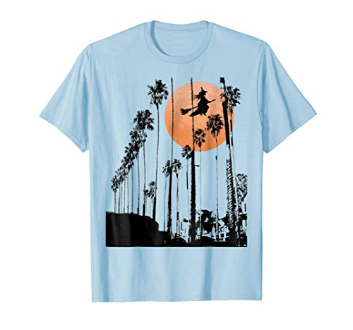 Witch Riding Broomstick California Full Moon Tee -