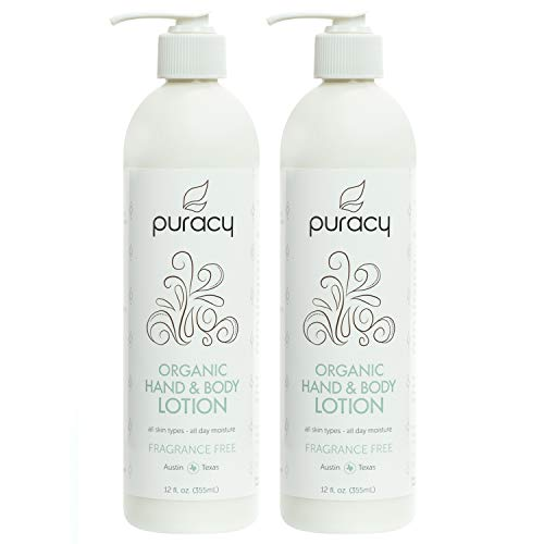 (Puracy Organic Hand & Body Lotion, Fragrance Free Unscented Natural Moisturizer, 12 Ounce (2-Pack))