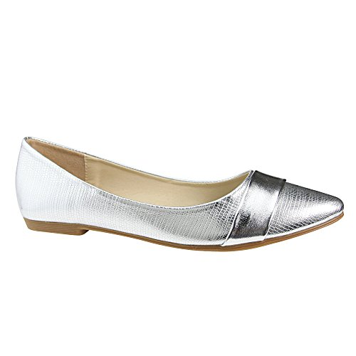 Silver Flat Shoes - Women's Slip on Flats Pointy Toe Boat Band Decor Patent Leather Wedding Ballet Shoe Silver 8