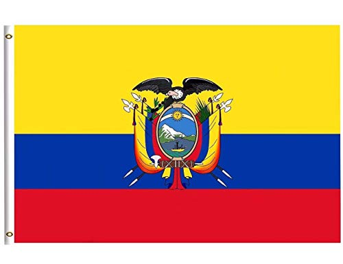 DFLIVE Ecuador Country Flag 3x5 ft Printed Polyester Fly Ecuador National Flag Banner with Brass Grommets