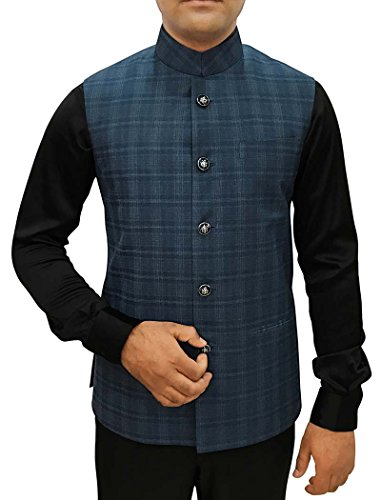 INMONARCH Mens Dark Navy Checks Nehru Vest Wedding NV86XL36 36 X-Long Dark Navy by INMONARCH