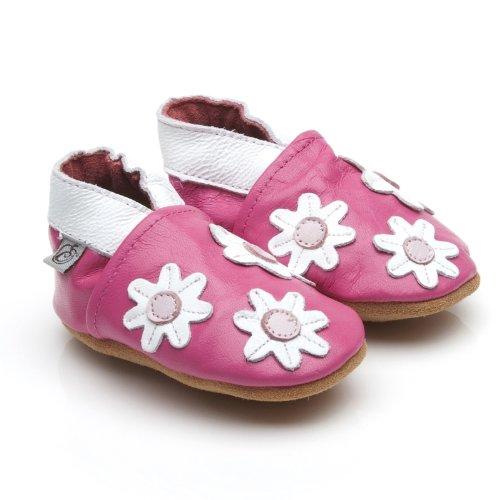 Suaves Zapatos De Cuero Del Bebé Pequeñas Flores Rosa 18-24 meses