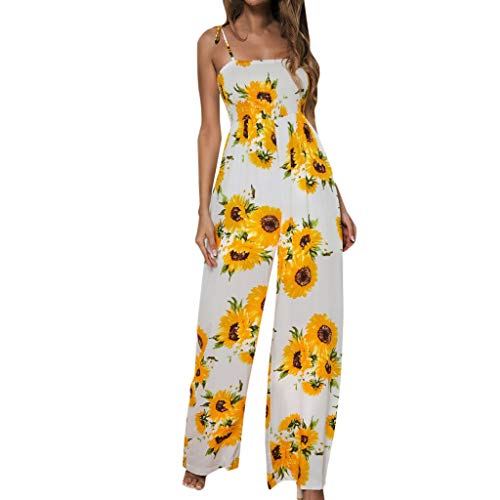 Long Jumpsuit for Women,LuluZanm Sales! Ladies Summer Sunflower Dot Print Rompers Sleeveless Wide Leg Pants Playsuit Yellow