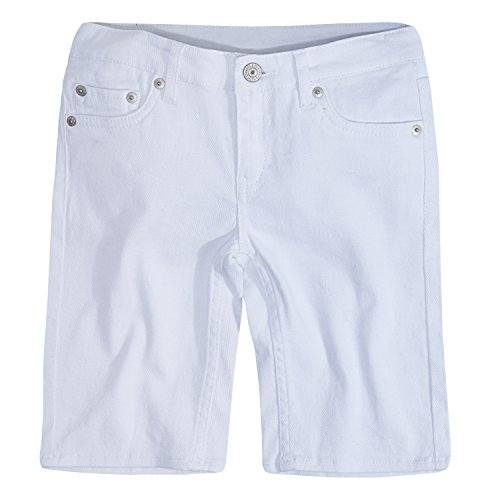 Levi's Girls' Toddler Denim Bermuda Shorts, White, 4T