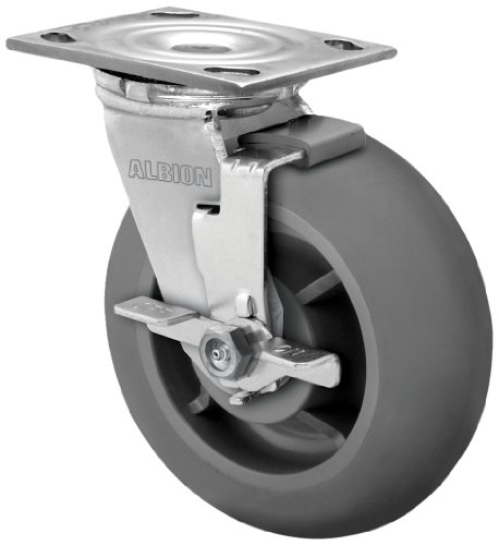 Albion-16-Series-8-Diameter-X-tra-Soft-Round-Tread-Wheel-Medium-Heavy-Duty-Zinc-Plate-Swivel-Caster-with-Face-Brake-Roller-Bearing-4-12-Length-X-4-Width-Plate-675-lbs-Capacity-Pack-of-2