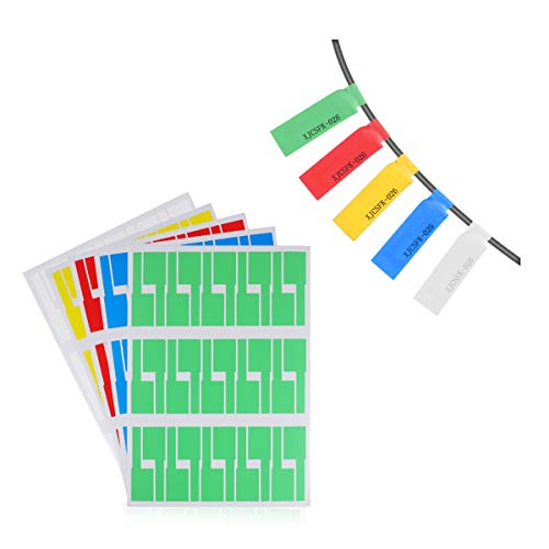 LANMU Cable Labels,Self-Adhesive Cable Label,Cable Cord Identification Tags,10 Sheets 300 Labels,A4 Size Waterproof Tear Resistant Labels Works with Laser Printer (5 Assorted Colors,Pack of 300)