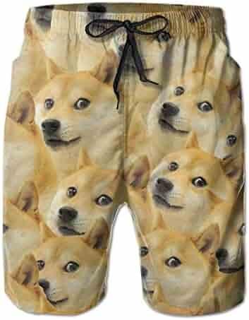 b8777f707f TARDIGA Funny Doge Pattern Meme Men's Beach Pants Swim Trunks Quick Dry Board  Short with Pockets