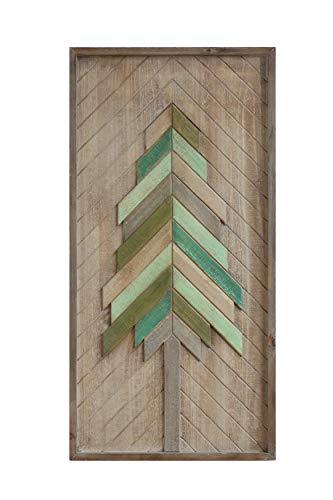 Creative Co-Op Christmas Tree Wood Wall Décor, Natural & Green