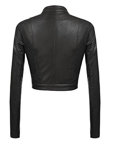 PU Veste Fermeture Court Longue Noir En Jacket Meaneor Femme clair Moto Manche Blouson Cuir Biker tdFAAq