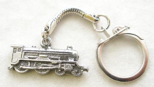 (Solid Pewter Steam Train Keychain)