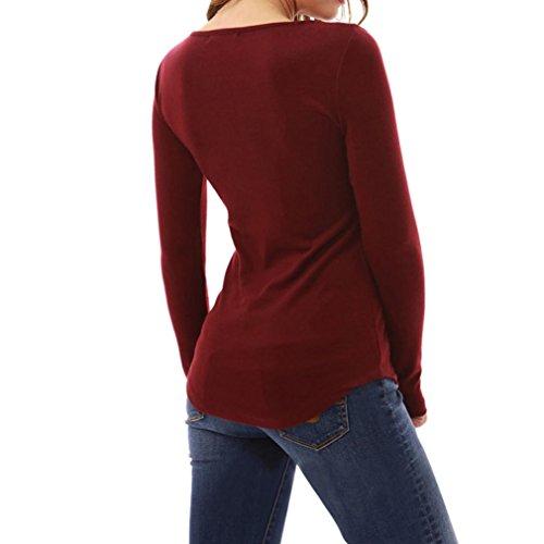 DAY8 Femme Vetement Sport t Shirt Ete Blouse Femme Chic Soiree Haut Femme Grande Taille Printemps Vetement Femme Pas Cher Fashion Chemise Femme Mode Slim Top Fille Dentelle Manche Longue Rouge
