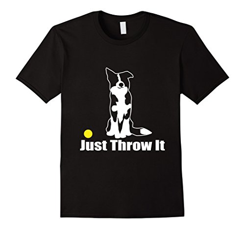 Mens JUST THROW IT | NickerStickers Border Collie T-Shirt Large Black