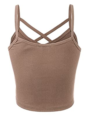 BEKDO Womens Solid Ribbed Peek-A-Boo Cut-Out Cropped Cami Tank Top-L-Mocha