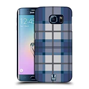 Head Case Designs Blue Grey Plaid Pattern Protective Snap-on Hard Back Case Cover for Samsung Galaxy S6 edge G925