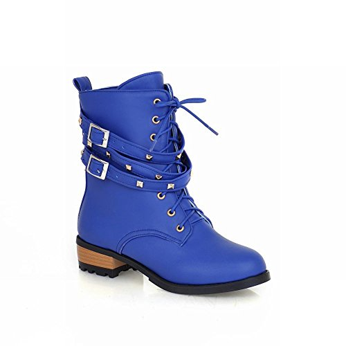 Martin Womens up Low Chunky Shoes Heel Buckle Casual Boots Blue Studded Fashion Ankle Carol Lace qS7TYwEgx