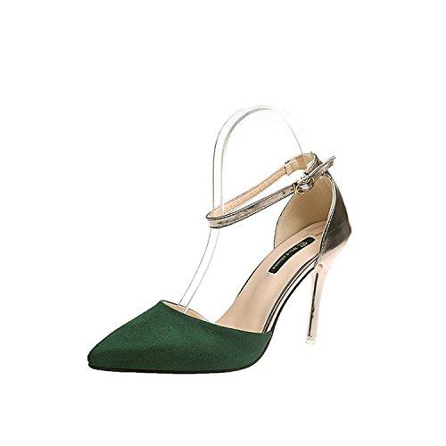 ultra punta femenina 37 moda de mujer Hechizo verde alta con zapatos de marea color Sandalias pFHYw