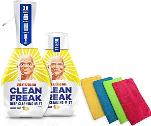 2-16oz Bottles (1 Mist Sprayer & 1 Refill) of Mr Clean Freak, Lemon Zest Multi-Surface Cleaner, Bundled with 4 Ondago Premium Microfiber Cleaning Cloths 13.78 X 13.78 inches